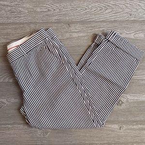 J.Crew Cafe Seersucker Navy Striped Capri Pants 0
